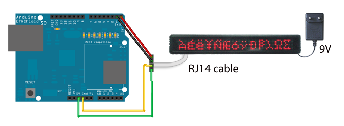Arduino Ethernet Shield hooked up to LED message display | Arduino